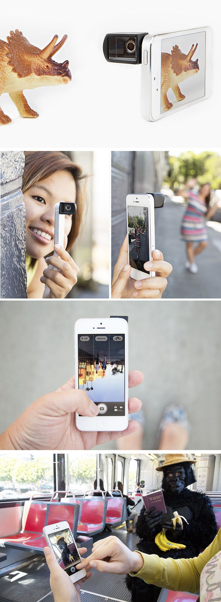 """Having a hard time getting a decent photo of your pal because they strike a duckface whenever you lift your phone into photo taking position? Us too.  Well, problem solved! The Smartphone Spy Lens uses a perfectly positioned mirror to let you take photos straight ahead, all the while holding your phone in """"who me? I'm just texting"""" position."""