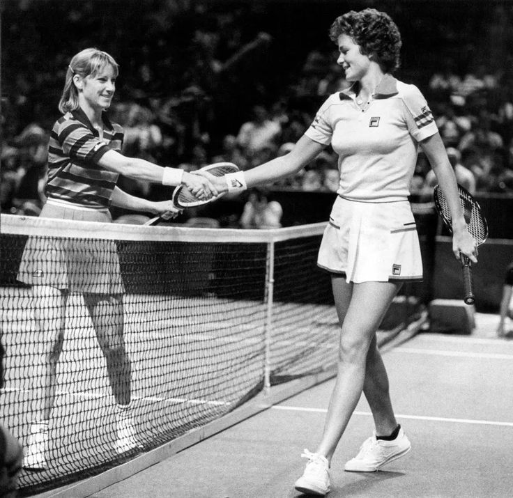 Chris Evert Lloyd commiserates with Pam Shriver after defeating her. Landover, Maryland. March 1981.