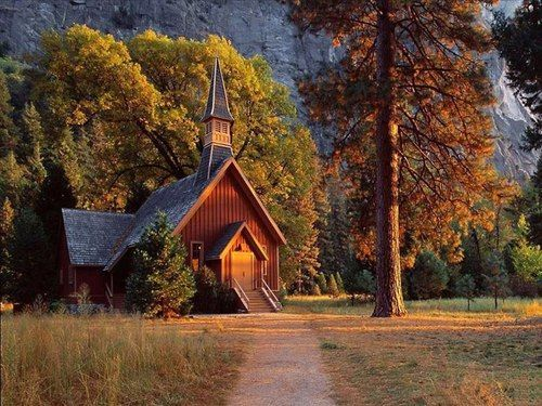 Pretty Country Church In The Glow Of Sunset