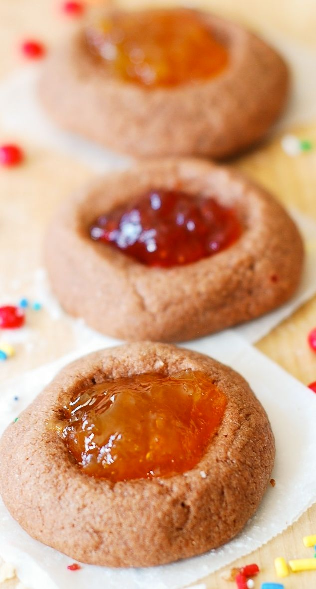 Chocolate thumbprint cookies filled with jam or fruit preserves.