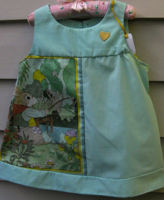 Girls Size 2 Cotton Dress with Rabbit Fishing Picture Panel