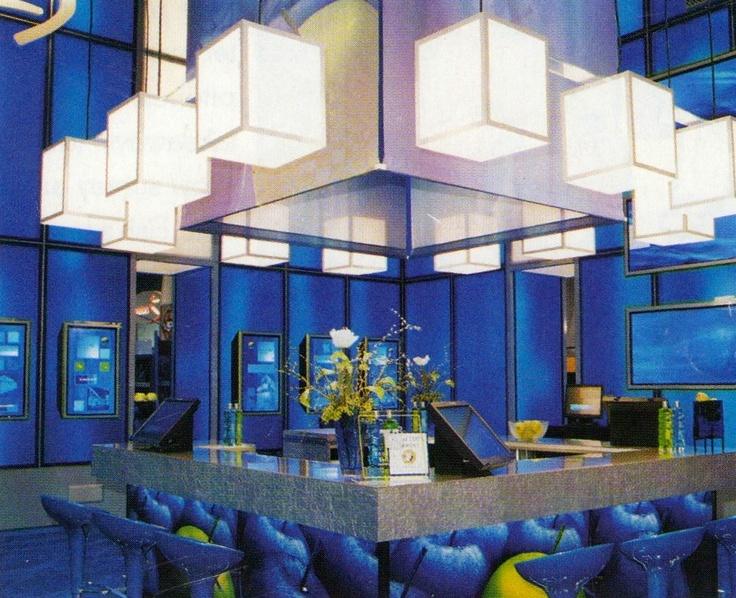 Sleek Modern Bar, with bold pops of blue