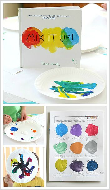 Color Mixing FREE Printable inspired by Herve Tullet's Mix It Up! ~ Explore color theory and make and name your own colors! ~ BuggyandBuddy.com