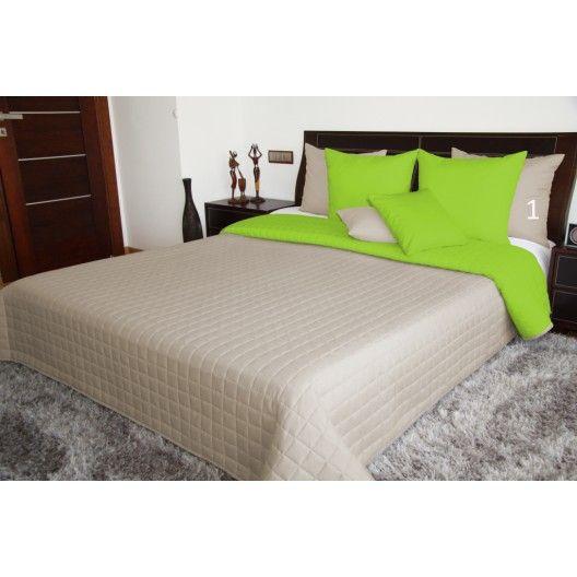 Luxusné obojstranné prehozy na posteľ béžovej farby