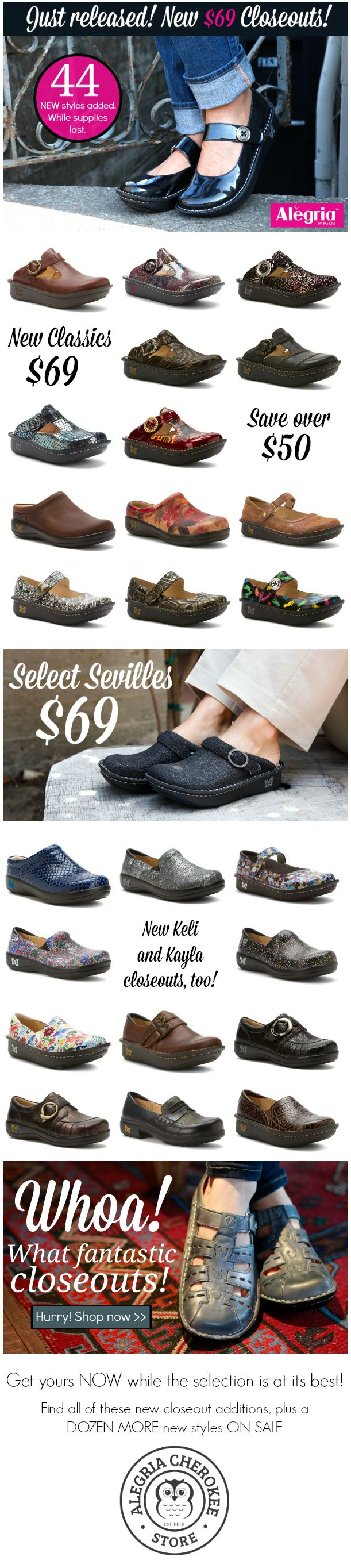 Our Biggest Semi-Annual Clearance Sale Ever Starts Now - 44 Brand New Alegria Closeouts!  Hurry in now or get them online while the selection is at its best! | Alegria Cherokee Store #AlegriaShoes #closeouts #sale #memorialday #CLT #CharlotteNC #AlegriaCherokee