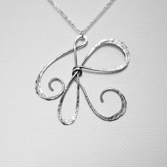 """Sterling Silver Initial Necklace Large by BelleAtelierJewelry, $48.00 Beautiful hand hammered Initial """"R"""" necklace"""