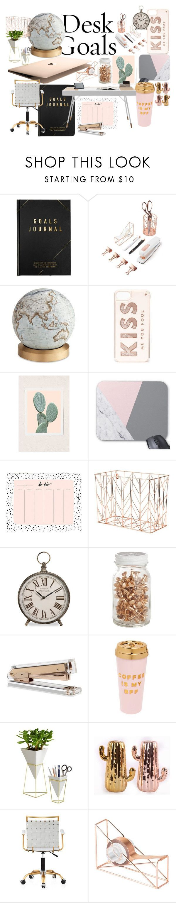 """tumblr rose gold desk"" by martuvillanova ❤ liked on Polyvore featuring interior, interiors, interior design, home, home decor, interior decorating, kikki.K, U Brands, Bellerby & Co and Kate Spade"