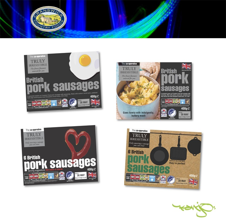 #Packaging designs by Kanjo for Cranswick sausages, to be sold by The Co-operative supermarket.