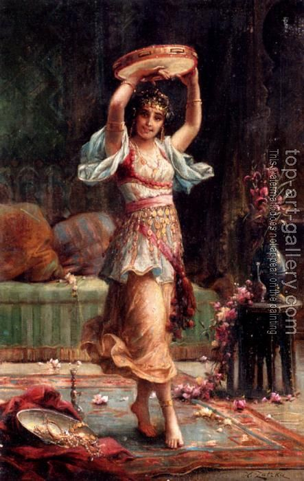 Hans Zatzka (Austrian, 1859-1945) : The Tambourine Player