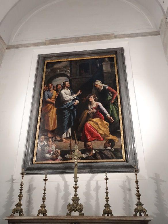 Cristo ospitato in casa si Marta e Maria. Fabrizio Santafede. Pio Monte della Misericordia