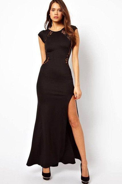 plussize 2017 vestidos de festa vestido longo ankle-length sexy autumn winter Maxi Dress long with Lace Back and Fishtail LC6137