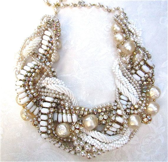 Chunky Pearl Rhinestone Necklace Ivory & White Bridal Statement Champagne Pearls Wedding Jewelry Vintage Milk Glass Tom Binns Inspired