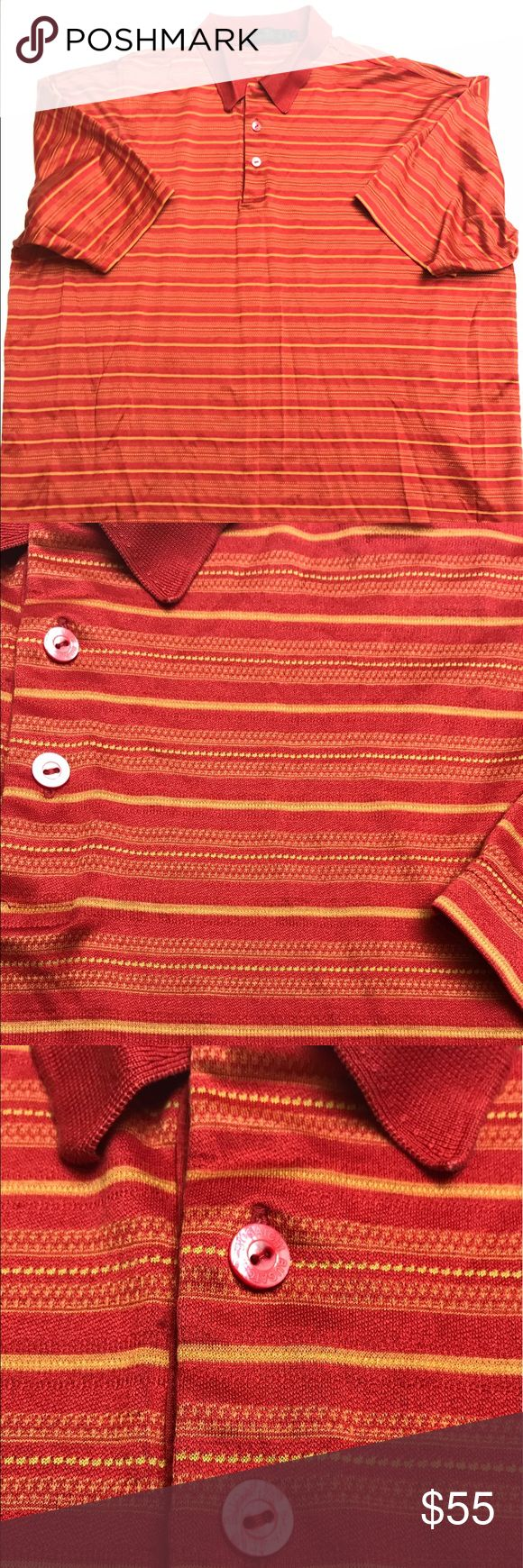 """Bugatchi Uomo Mercerized Cotton Polo Shirt XXL Bugatchi Uomo Mercerized Cotton Red With Gold Striped Polo Shirt Men's Size XXL Pre-owned  Clean with no holes or stains from a pet and smoke free environment.  Size: XXL  Shoulders: 22""""  Chest (pit to pit): 25""""  Length: 29""""  We make an effort to inspect our items before posting and strive to ship quality items. Please be sure to review all pictures when purchasing and feel free to ask any questions. Thanks! Bugatchi Shirts Polos"""