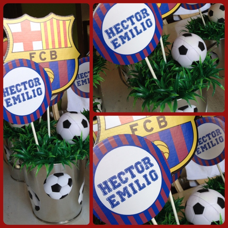 Soccer, Barca themed centerpieces put together by a talented mom using our cutouts!