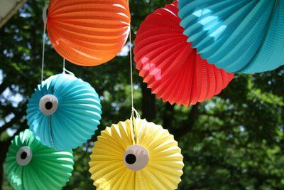 Super cute monster party decorations! Use orange white and black or red and white for Halloween