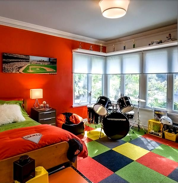 Image result for fiery orange modern teen boy rooms