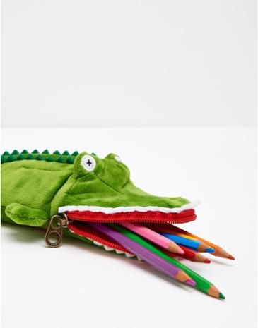 Joules Boys Pencil Case, Crocodile.                     Send him back to school in style with the best pencil case we've ever designed. His desk is about to become dangerously cool.