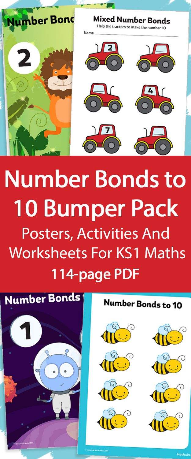 worksheet Number Bonds To 10 Worksheet 25 best number bonds images on pinterest student centered to 10 bumper pack 114 pages of posters activities and worksheets for