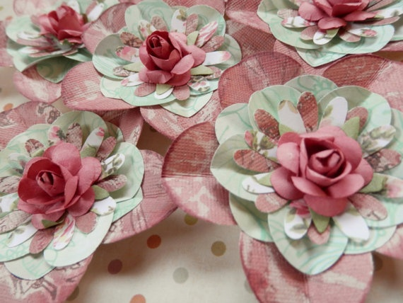 3 Handmade Paper Flowers With Rose Centers By PaperPastiche 495