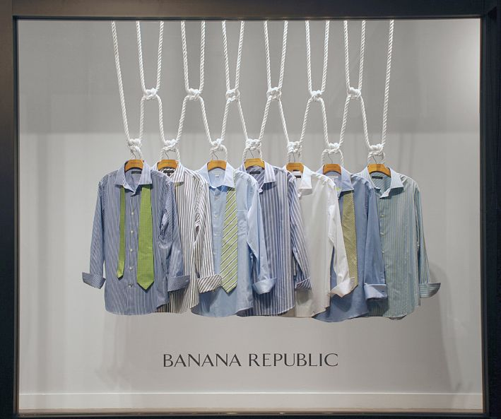 Men's clothes can also be alluring. Visual Merchandising in Barcelona, Spain.