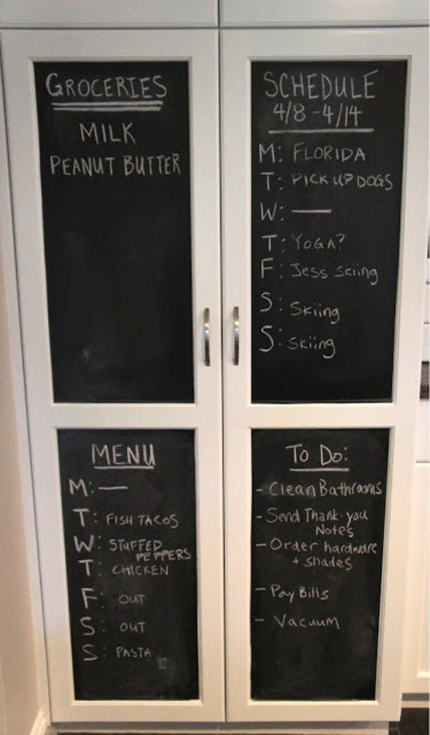 Use chalkboard paint to paint the inside or outsides of your cabinet or pantry door to use for your grocery list and meal menu plan! | Home with Baxter