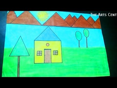 shapes scenery drawing easy geometrical shape project geometric arts drawings projects