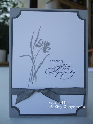 """By Margaret King. Stamps from Stampin Up's """"Love and Sympathy"""" set. Use circle punch on corners. Layer. Add ribbon and card base."""