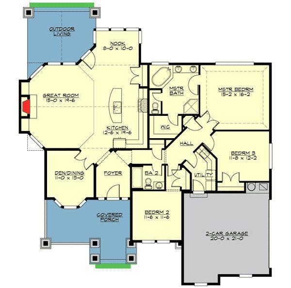 Rambler Open Floor Plans: Plan 23503JD: Decorative Rambler With 3 Beds