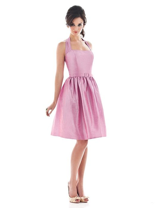 Alfred Sung #D480: Halter cocktail length dupioni dress with matching skinny belt and pockets at side seams of full skirt.
