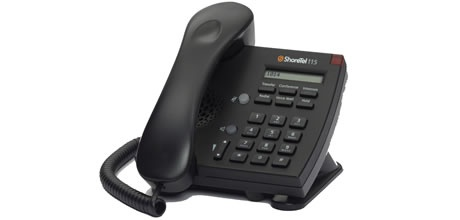 ShoreTel IP Phone 115  The single-line IP 115 is a cost-effective telephone ideal for open areas, including lobbies, classrooms and dorm rooms. The IP 115 has six feature keys for common operations, a one-line display for caller ID, date and time, and a speakerphone for two-way hands-free communication. Like all ShoreTel IP phones, the IP 115 features an integrated Ethernet switch, allowing a network drop to be shared with a desktop PC.