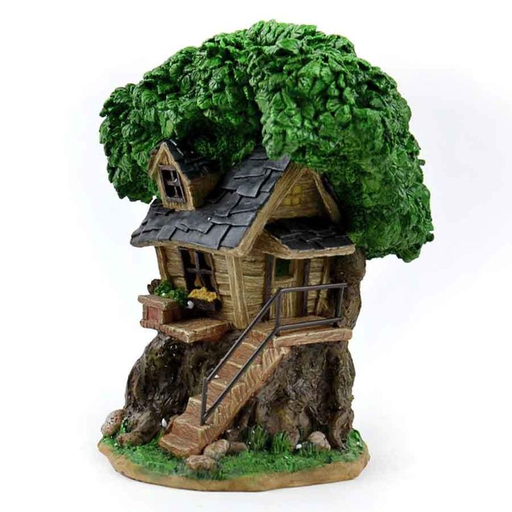 Fairy Homes and Gardens - Solar Fairy Treehouse with Stairs, $29.99 (https://www.fairyhomesandgardens.com/solar-fairy-treehouse-with-stairs/)