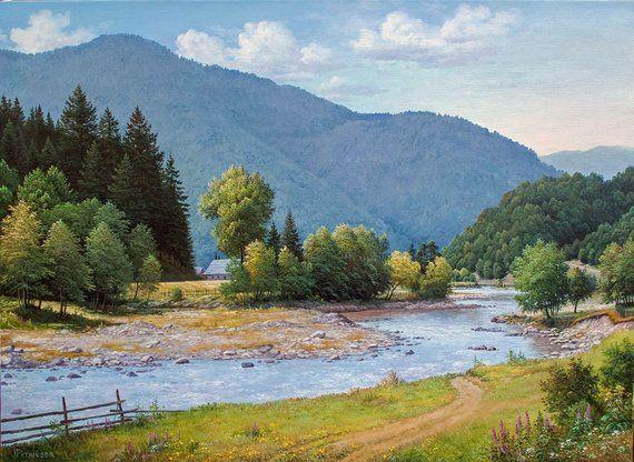 Summer Mountain Landscape Oil Painting Realism Oil Painting Large Canvas Art Original Large Painting Mountains Art Wall Art Mountain Landscape Large Landscape Painting Oil Painting Landscape