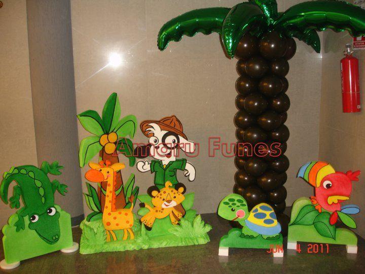 Doki y animales de selva en anime palmera de globos - Cabezas de animales decoracion ...