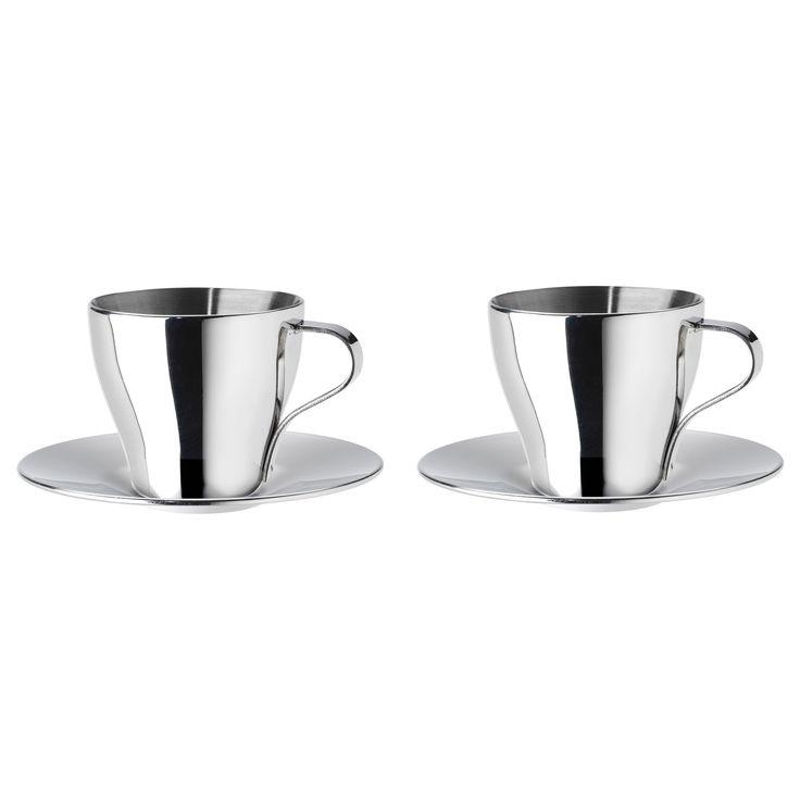 KALASET espresso fincan ve tabağı paslanmaz çelik 6 cl   IKEA Yemek Odaları