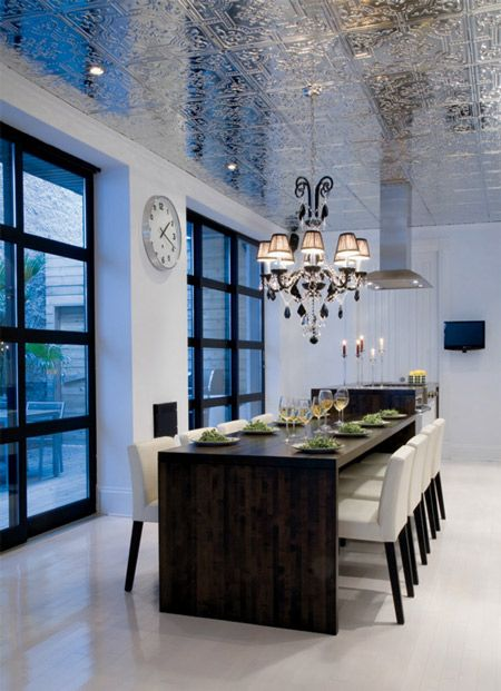 Gorgeous shiny tin ceiling: Dining Rooms, Ideas, Dining Area, Tin Ceilings, Tins Ceilings, Interiors Design, Ceilings Tile, Tins Tile, Dining Tables