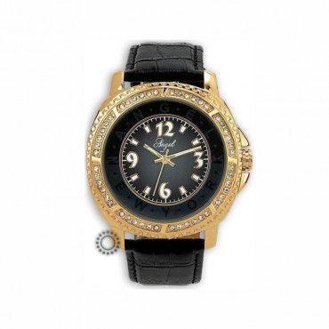 Γυναικείο ρολόι quartz της ANGEL με μαύρο καντράν & λουρί, χρυσή κάσα & ζιργκόν   Οικονομικά ρολόγια ANGEL στο κατάστημα ΤΣΑΛΔΑΡΗΣ στο Χαλάνδρι #angel #ζιργκον #δερμα #γυναικειο #ρολοι