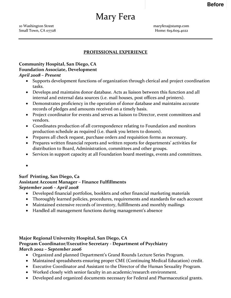 Sample Professional Resume For Administrative Assistant