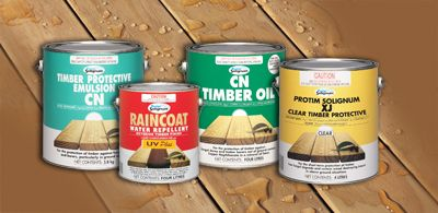 Buy wide range of paints, sealants and timber care products for your timber projects. Our Timber Care Products are Raincoat water repellant, XJ, CN Emulsion, CN Oil and Reseal.