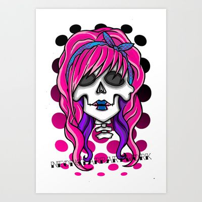 'Rockabilly skull' Art Print by NeonStarr - $15.60