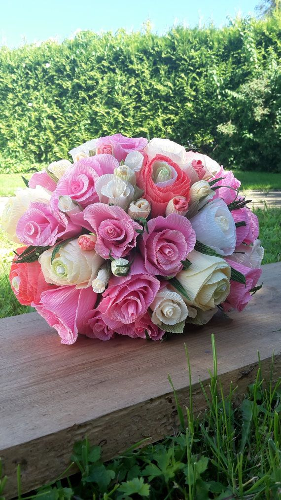 Bride Pink Rustic Ivory Wedding Bouquet crepe by moniaflowers