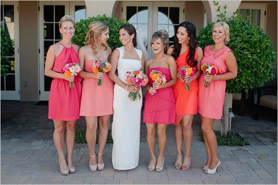 coral bridesmaids but all in a different style.