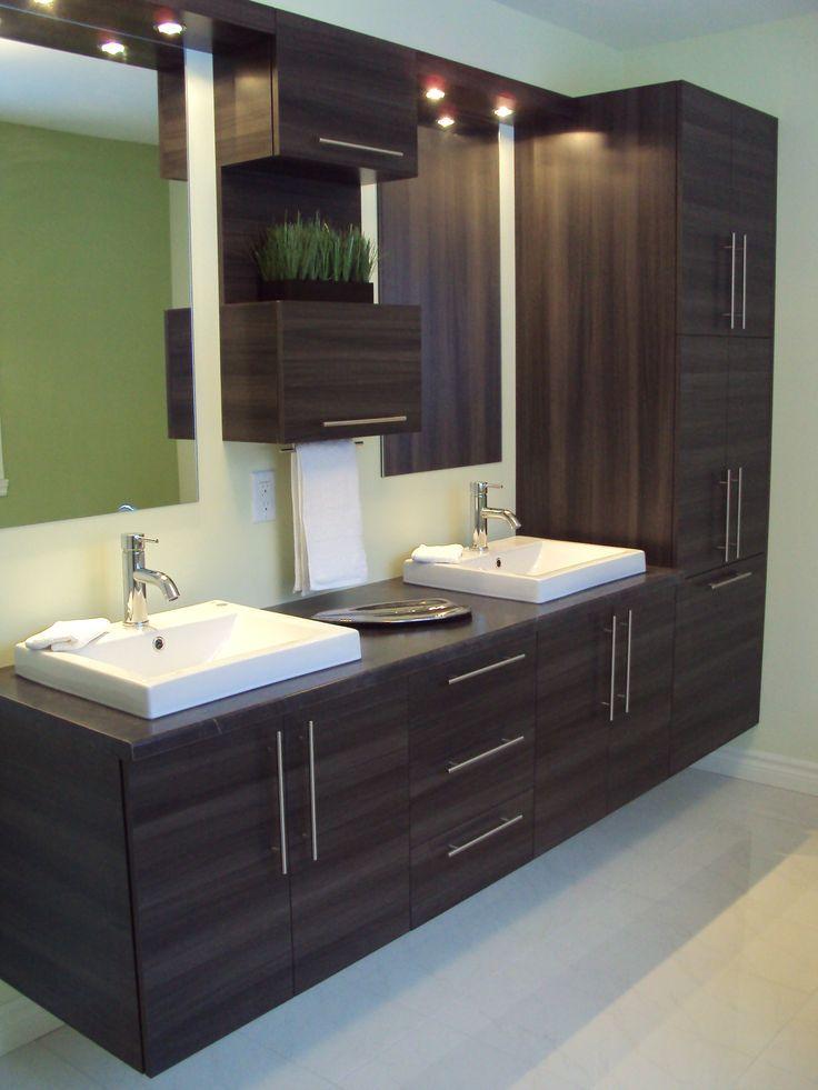 Vanite Suspendue De Style Contemporaine En Melamine Droite Avec Comptoir De St Carrelagesalled Bathroom Decor Bathroom Cabinets Designs Bathroom Interior