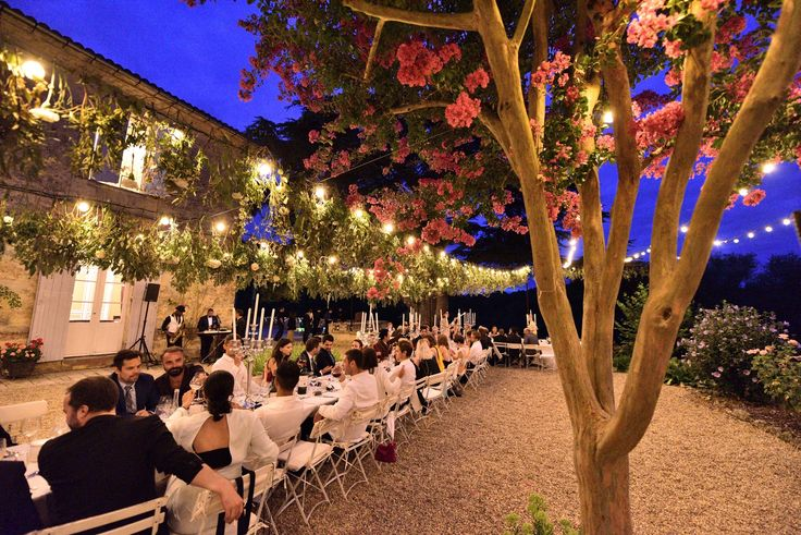 Outdoor dinner at wedding in South West France. Styling, planning and photo by www.awardweddings.fr