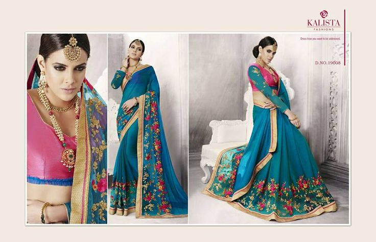 blue georgette saree with pink blouse and emboridery