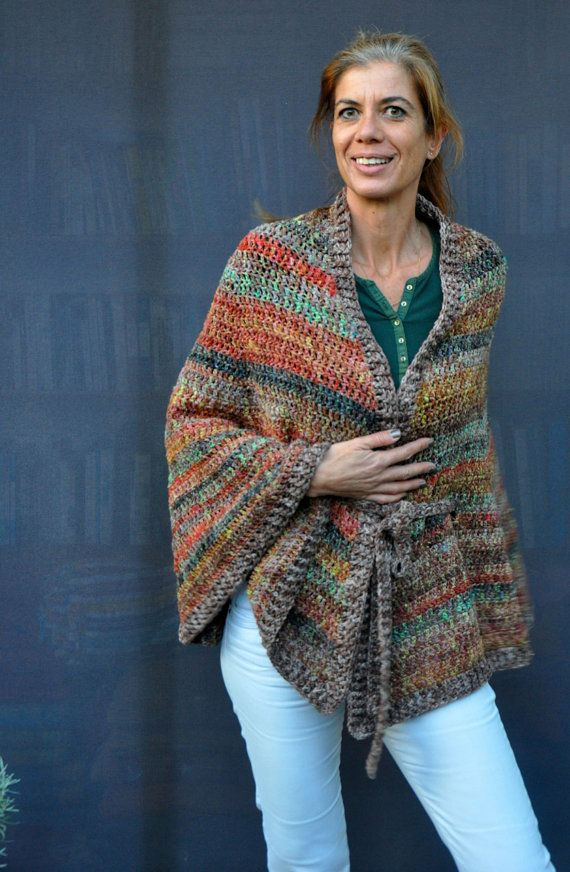 crochet circular poncho cape with belt in autumn by SophieCRO