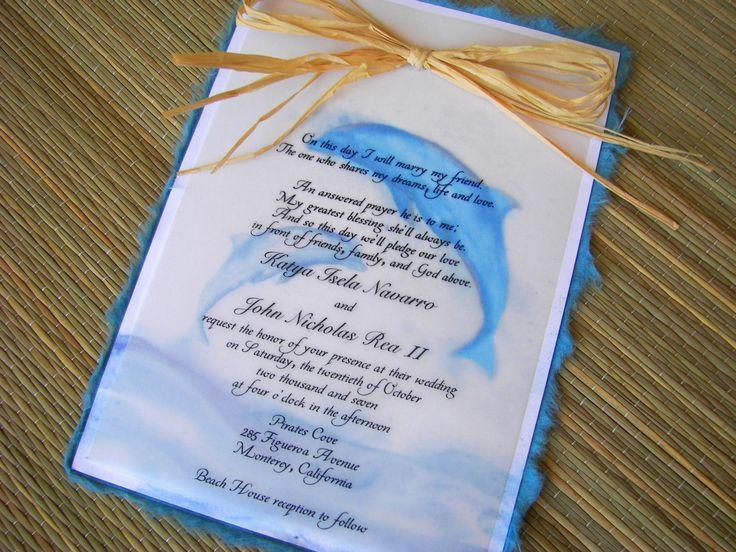 Dolphin themed wedding invitations.  Orginal artwork by Lenila L. Batali. DesignsbyLenila.com.