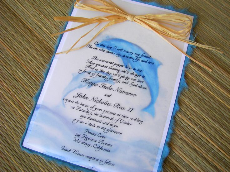 Dolphin themed wedding invitations.  Orginal artwork by Lenila L. Batali. DesignsbyLenila.com.
