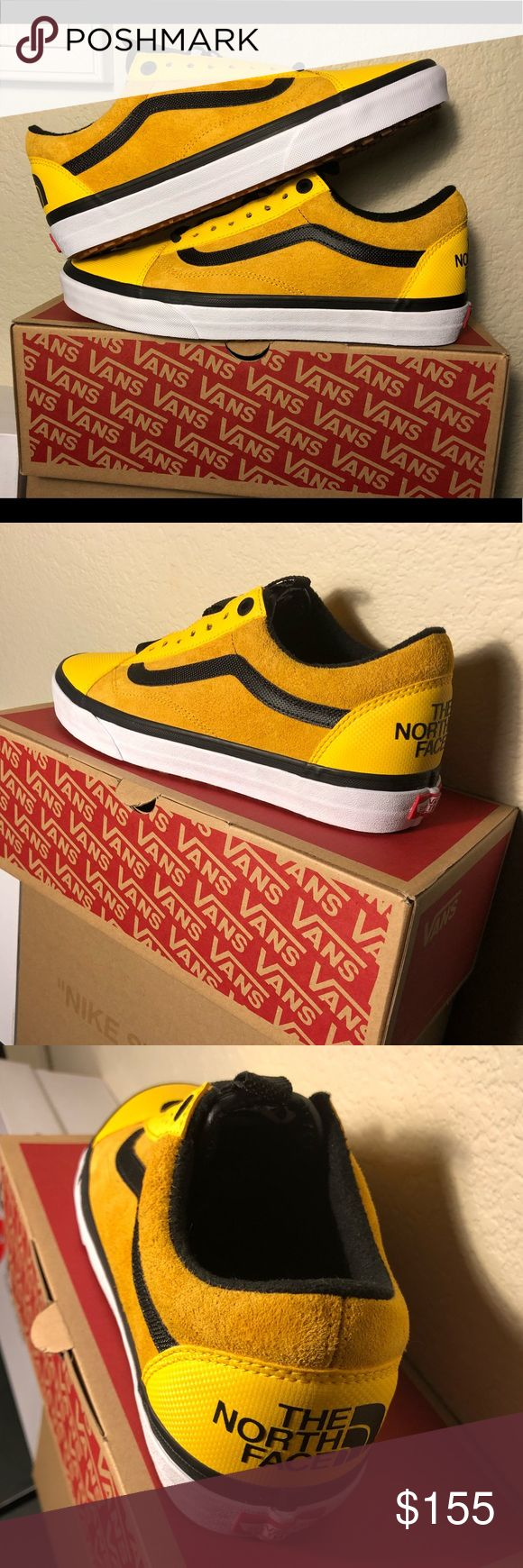The North Face Vans Old Skools (Yellow) These TNF Vans are deadstock meaning brand new and never worn. I am open to offers and can negotiate on price! Text me if you are interested, not dealing via Poshmark due to fees, 760-310-9799 Vans Shoes Sneakers