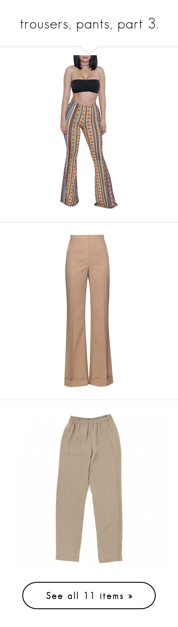 """trousers, pants, part 3."" by trillestqueen ❤ liked on Polyvore featuring bandeau tops, bandeau bikini tops, pants, trousers, bottoms, calças, pantaloni, dark beige, cuff pants and high waisted wide leg pants"