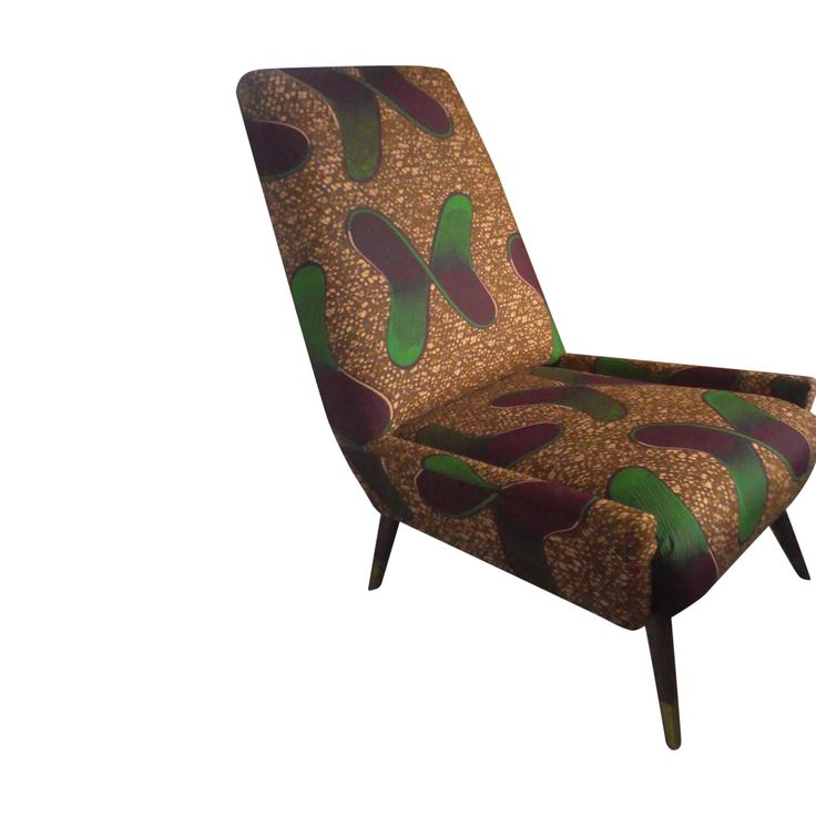 1950s cocktail chair reupholstered in African fabric